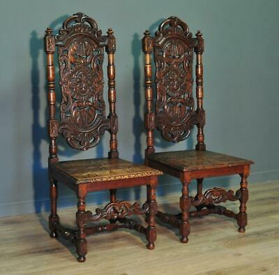 Attractive Large Pair Of 2 Antique Victorian Solid Carved Oak Hall Chairs