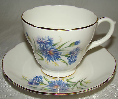 Duchess Bone China ENGLAND Blue Thistle # 383 Floral Cup & Saucer