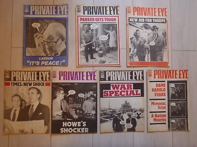 7 Issues Private Eye from 1982 nos. 524, 525, 526, 527, 528, 529 & 530