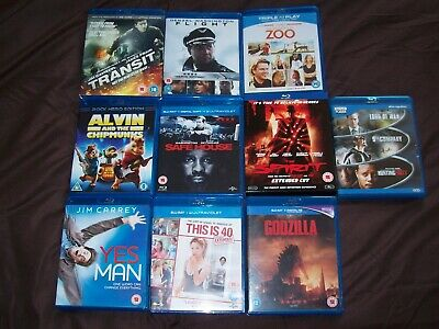 Joblot Of Twelve Blu-Rays - Spirit, Flight, Transit, Alvin, Godzilla, Yes Man