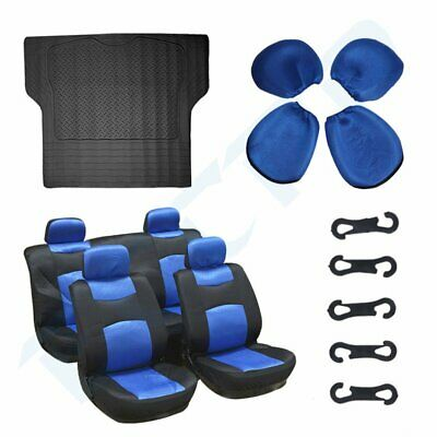 10pcs Durable Black Blue Polyester Car Seat Covers W/ 1pc Rubber Trunk Mat