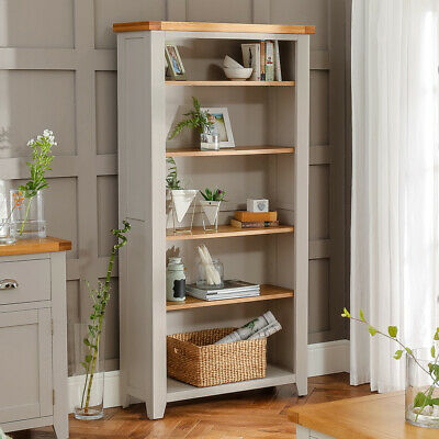 Downton Grey Painted Large Tall Bookcase with 4 Adjustable Shelves - DT34