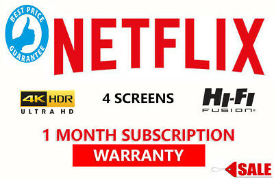 Netflix 4 Screens one month warranty premium subscription 4K Ultra HD Canada