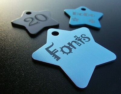 Aluminium STAR Pet ID Name Tag With Personalised Engraving, Dog, Cat, Puppy!