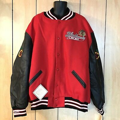 MITCHELL & NESS MENS CHICAGO BLACKHAWKS VARSITY JACKET Leather & Wool Sz 64 6XL
