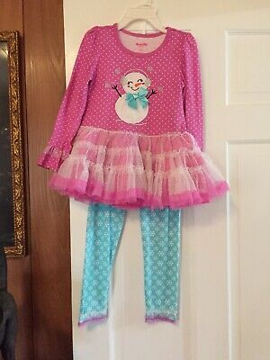 Nanette Girls Size 6 Pink/turquoise Skirted Snowman Top With Leggings