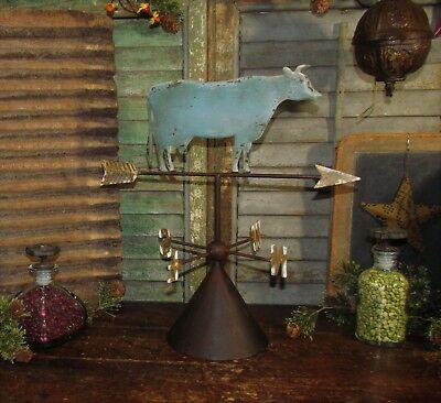 Primitive Antique Vtg Style Country Farm Barn Yard Metal Dairy Cow Weather Vane