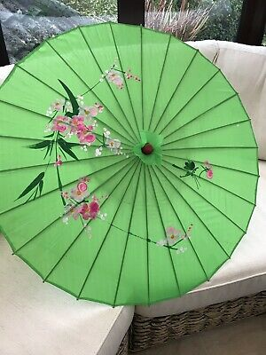 Vintage Style Sun Shade Parasol Green With Pink Flower Design.