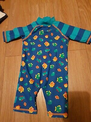 3-6 months boys swimsuit. New with tags. Blue, stripe, fish, orange. 40+ spf