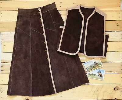 98986a8ce VINTAGE 60'S 70'S Women's A Line Long Skirt Pleated Brown Wool Fully ...