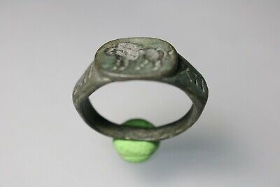 Ancient Interesting Roman Bronze Legionary Ring * Lion 1st - 4th century AD