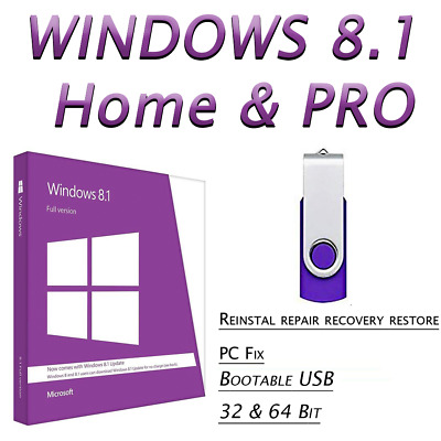 WINDOWS 8.1 HOME & PRO✅64GB USB 32/64bit✅ Fix Repair Install Recover PC