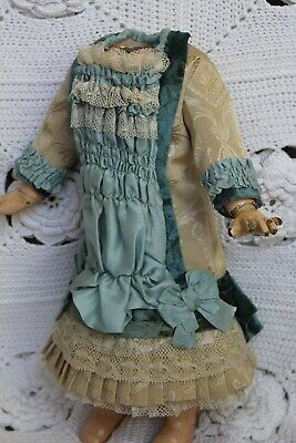 Silk dress  for  antique  baby doll  16-17''.