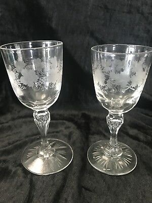 American Brilliant?? Pair Of Beautifully engraved cut glass cordials