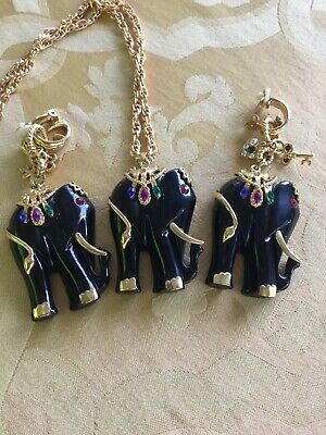 Huge Elephant Necklace Earrings Lucite Set Ex Cond, Very Rare!!!!!!