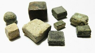 Zurqieh -As10935- Ancient Holy Land. Lot Of 9 Ancient Weights. Mostly Roman