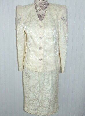 VTG 80's David Rose Lace Cream Color Mother of the Bride 2pc Set Themed Wedding