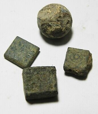 Zurqieh -As10936- Ancient Holy Land. Lot Of 4 Ancient Weights. Mostly Roman