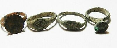 Zurqieh -As10937- Ancient Holy Land. Lot Of 4 Ancient Rings. Mostly Roman