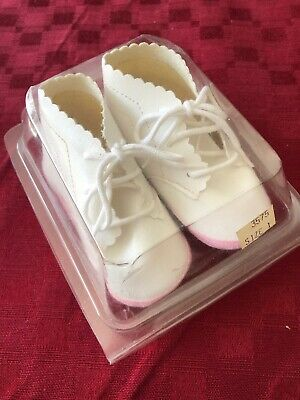 Vintage White Baby Girl Booties Shoes Lace New in Box Size 1 Pink Trim Darling