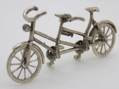 Vintage Solid Silver Italian Made Dollhouse Tandem Bicycle Miniature, Stamped