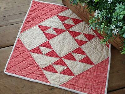 Wonderful! Antique c1880s Red White Cats Cradle Table or Doll Quilt 13x12