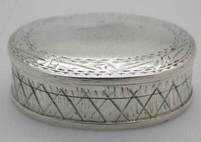 Vintage Sterling Silver 925 Italian Made Oval Pill / Snuff Box, Stamped
