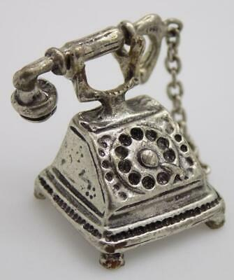 Vintage Solid Silver Italian Made Dollhouse Old Phone Miniature, Stamped