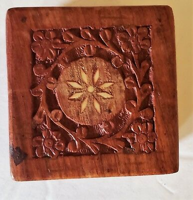 Teak Wood box carved with what appears to be mother of pearl inlay