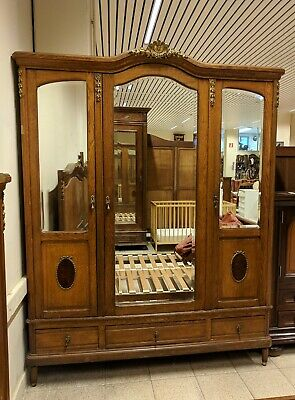 French Oak Mirror 3 Door Wardrobe Armoire, Flat Pack, Burr Walnut Panel, Bronze