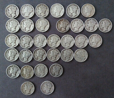 Mercury Dimes (lot of  32 coins,  90% silver,  Exact coins pictured