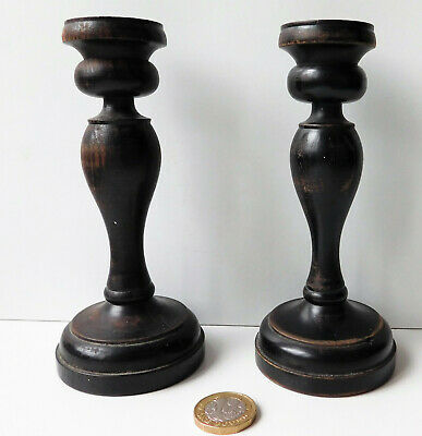 """Pair of antique ebony candlesticks Vintage wooden ware 2 candle holders wood 6"""""""