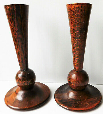 """Pair of antique oak candlesticks Vintage wooden ware candle holders wood 7"""" tall"""