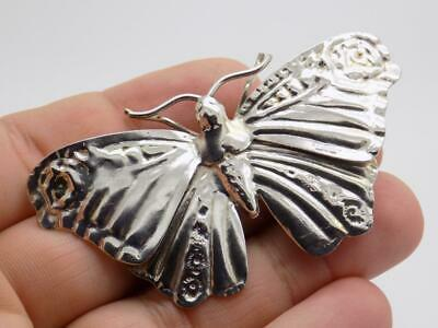 Vintage Solid Silver Italian Made REAL LIFE SIZE Moth, Figurine, Stamped