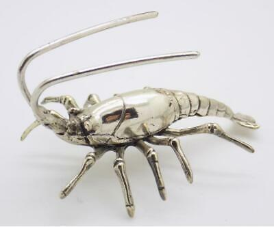 Vintage Solid Silver Italian Made REAL LIFE SIZE Prawn Figurine, Stamped
