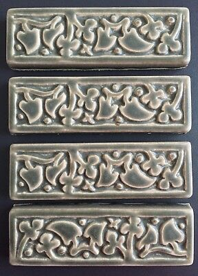"Motawi Tileworks 5 green relief art tiles MEDIEVAL IVY 2"" x 6"" and BERRY 3"" x 3"""