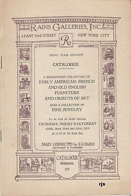 Coll. Early American French English Furniture Etc Rains Galleries New York 1929