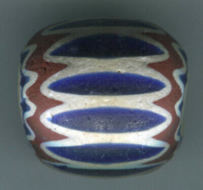 African Trade beads Vintage Venetian glass old 6 layer blue chevron 30x28mm