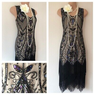 NWT Embellished Gatsby 20's 30's Sequin Flapper Dress Evening M 12 Party