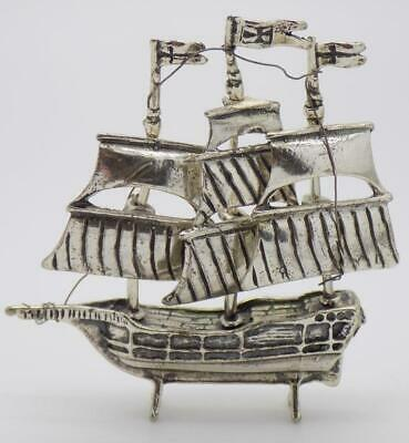 Vintage Solid Silver Italian Made Galleon Ship Miniature, Figurine, Stamped