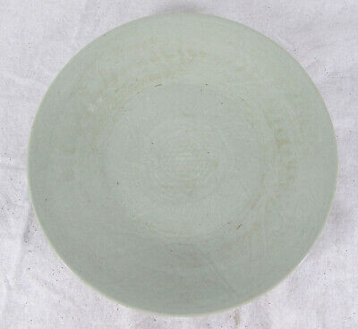 Qing Kitchen Ware Incised Celadon Huge Dish Plate Lotus Export Domestic Ware yqz