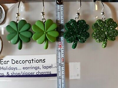 Shamrocks (nickel size) St. Patrick's Day Four Leaf Clover (nickel free hooks)