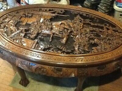 Vintage Chinese Teak Wood Hand Carved Tea Table 6 Tuck Under Stools W Gl Top