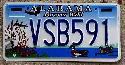 "Alabama ""Forever Wild"" License Plate Featuring Ducks Blue Heron & a Bald Eagle"