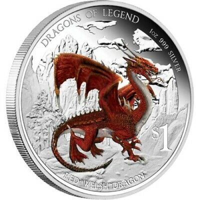 2012 Dragons of Legend - Red Welsh Dragon 1 oz Silver proof coin