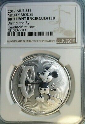 2017 Niue 1 oz Silver Mickey Mouse Steamboat Willie $2 Coin NGC MS69