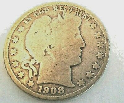 UNITED STATES 50 CENTS 1908  O  Barber Half Dollar Silver Coin