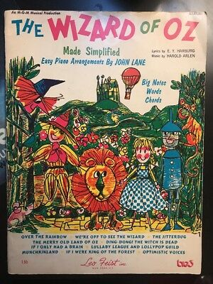 Wizard of Oz Made Simplified: Sheet Music Songbook 1969 Leo Feist Judy Garland