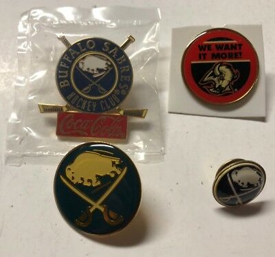 Lot of 4 Vintage Buffalo Sabres Pins Buttons Sabres Hockey Club Memorial Aud