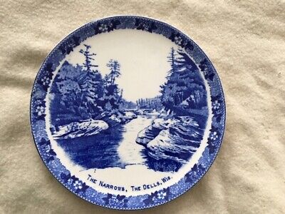 "Antique Staffordshire Ware Wisconsin Dells ""The Narrows"" plate"